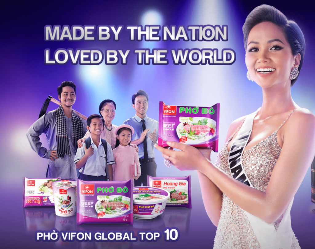 vifon world renowned miss vietnam holding pho bo noodle packet